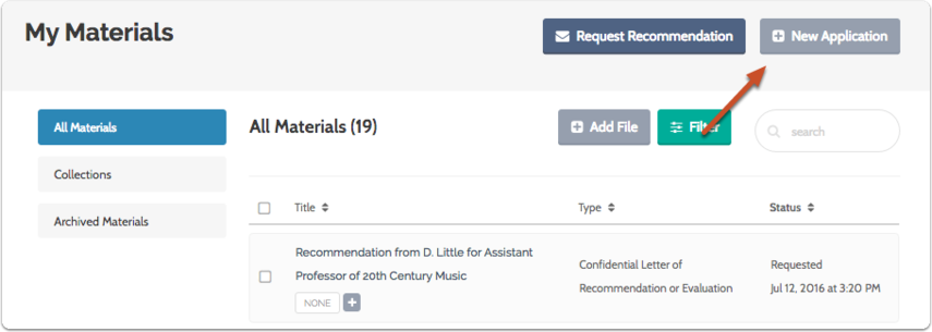 "1. To find ByCommittee positions in the program, select ""New Application"" from your Materials page"