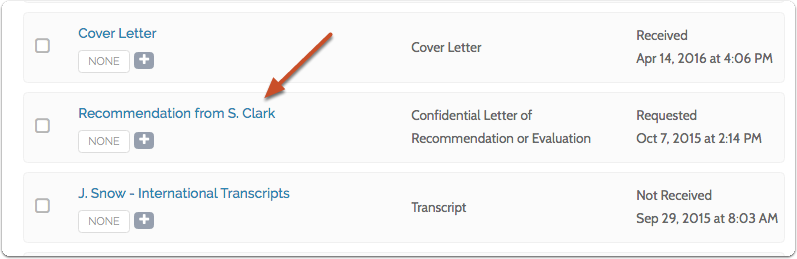 If you need to resend a request, click the title of the requested document to open it