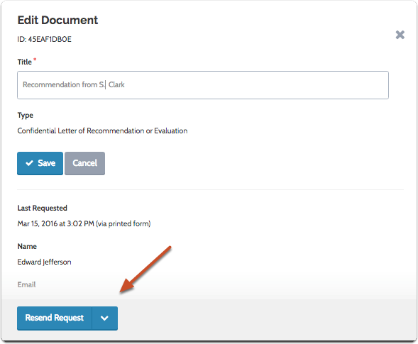 "Click ""Resend Request"" to send a new request electronically"
