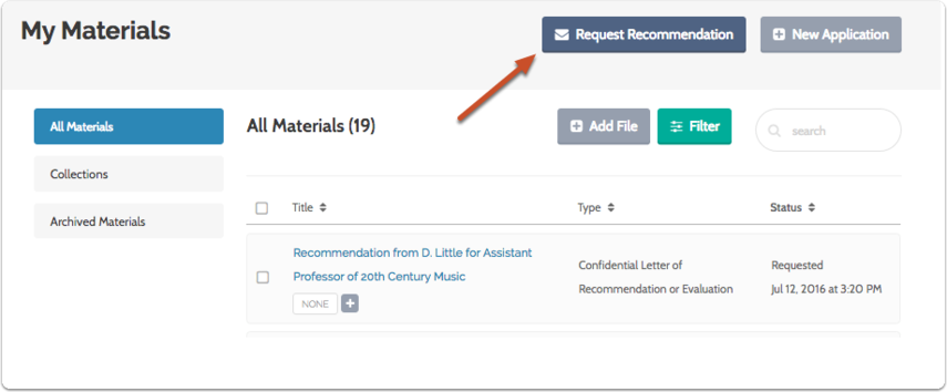 "Click ""Request Recommendation"""
