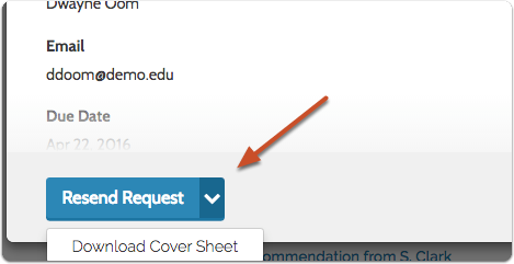 "To send a paper request, click the dropdown arrow and select ""Download Cover Sheet"""