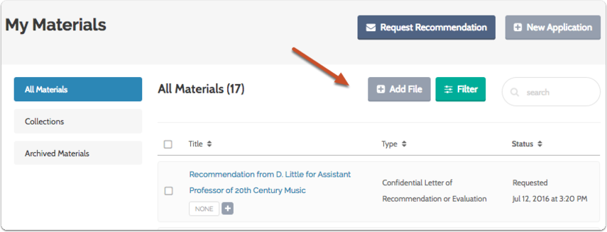"Click ""Add File"" on your Dossier Materials page"