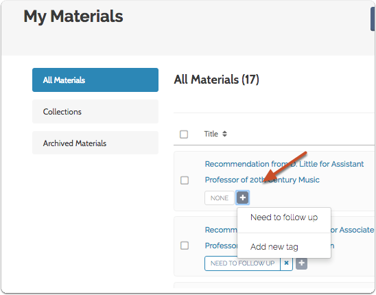 "To create and apply a tag to a file, click the addition symbol under the title and click ""Add New Tag"""