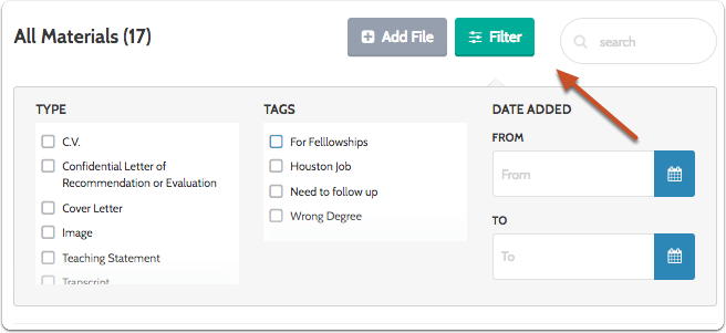 "Click ""Filter"" to filter the list of materials according to the tags you have added"