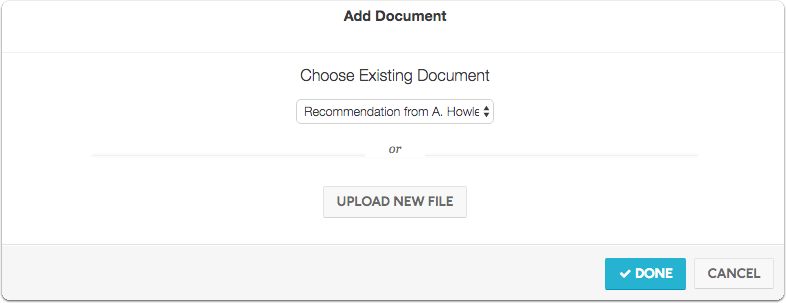 Choose Existing Document or Upload New File