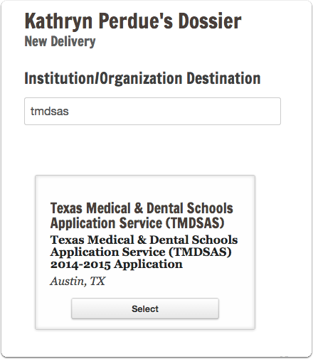 "Type ""TMDSAS"" in the search box, and select the position that appears for the application cycle you are applying to"