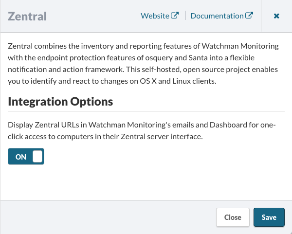 Zentral Integration Options