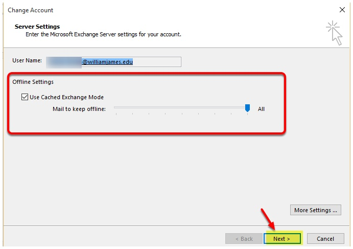 Changing Cache mode in Outlook – William James College Helpdesk