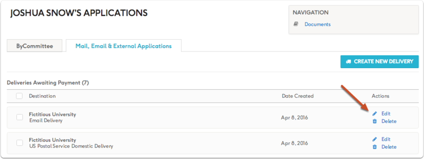 You can also add ID numbers to existing deliveries by editing a delivery from your Deliveries & Applications list