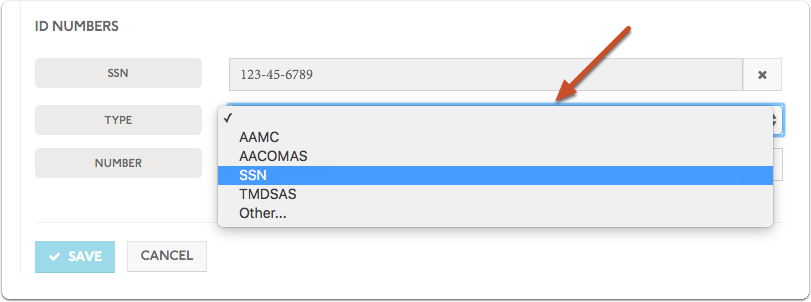 Select the type of ID from the dropdown menu (AACOMAS, AAMC, TMDSAS, SSN, or Other)