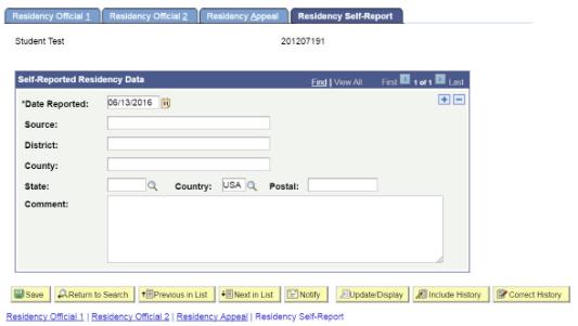Residency Self Report