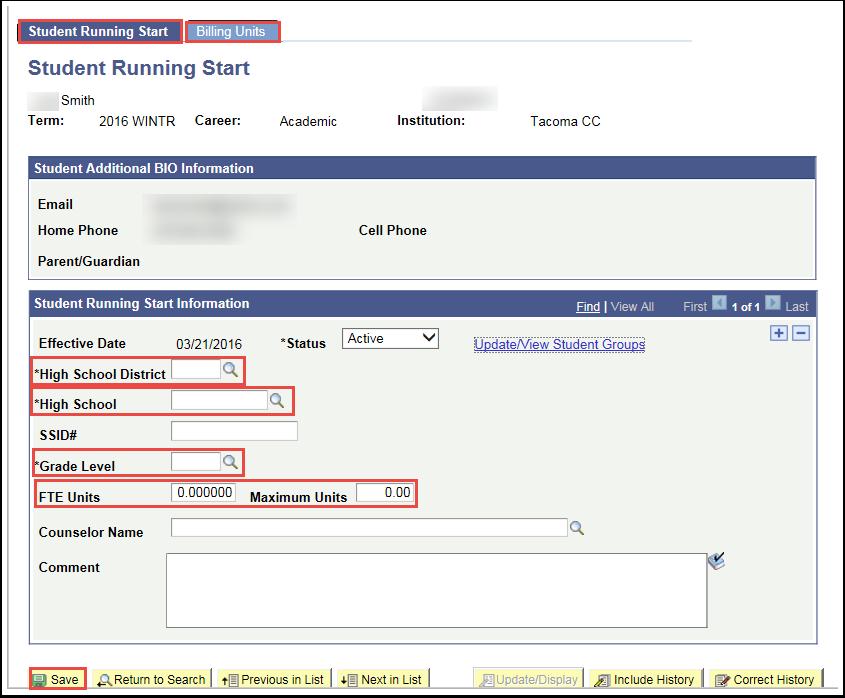 Student Running Start tab