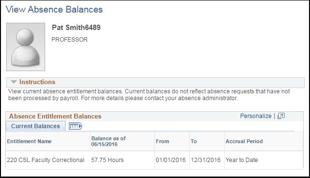 Absence Entitlement Balances