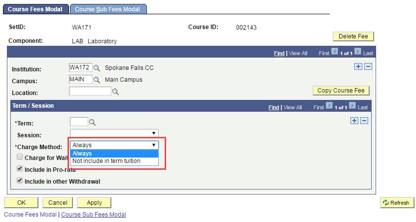 Course Fees Modal tab
