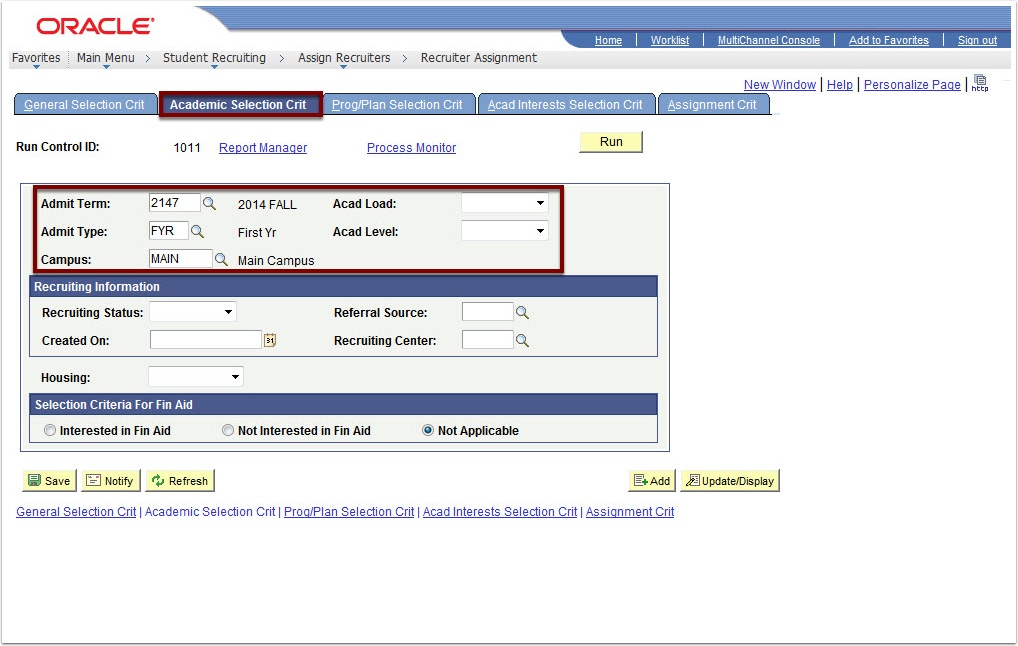 Academic Selection Crit tab
