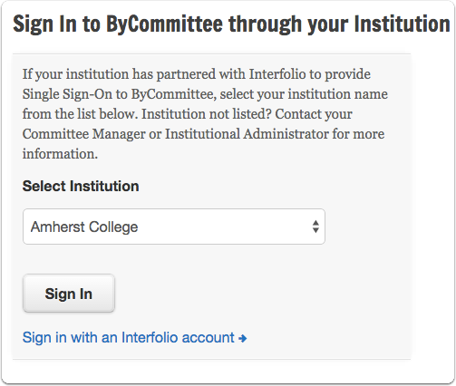 "Select your institution from the drop down list and click ""Sign In"""