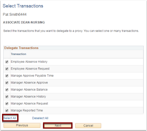 Select Transactions