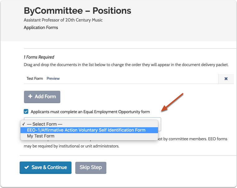"If necessary, make EEO forms a requirement, and click ""Save & Continue"" when you are done"