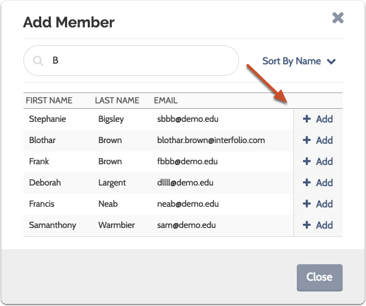 """Search for the user by first or last name, and click """"Add"""" to add them to the committee"""