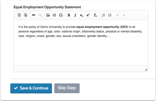 "Enter an Equal Employment Opportunity Statement, and click ""Save & Continue"""