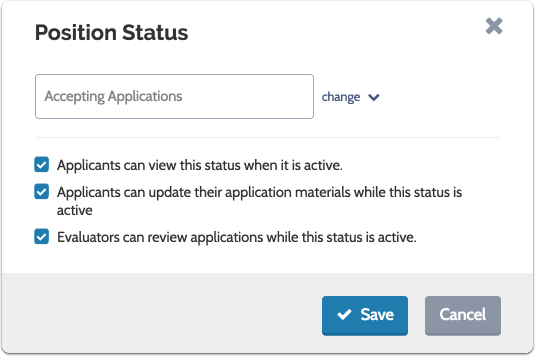Set permissions related to the status