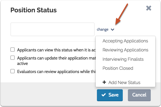 "Select the initial status from the dropdown list, or click ""Add New Status"" to create a new one"