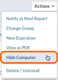 Actions menu > Hide Computer