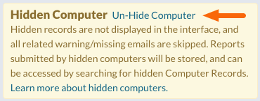 Hidden Computer warning