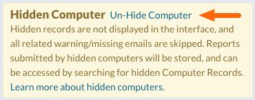Hidden Computer warning