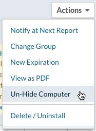 Actions menu > Un-Hide Computer
