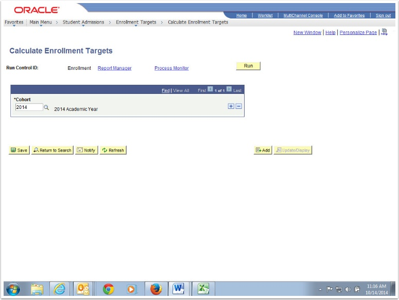 Calculate Enrollment Targets page
