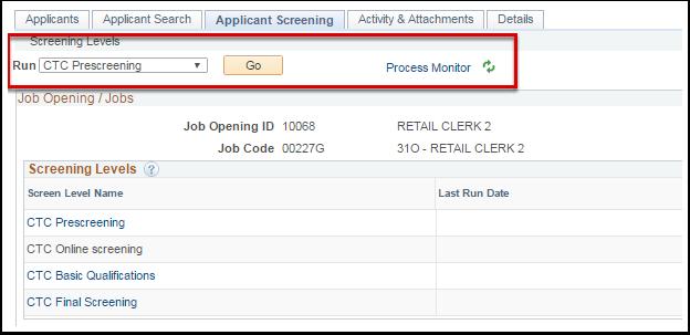 Applicant Screening Levels