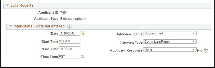 Interview status