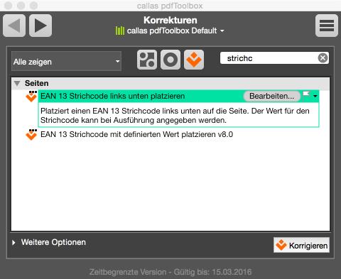 Angepasste Korrekturfunktion »EAN 13 Strichcode rechts unten platzieren«