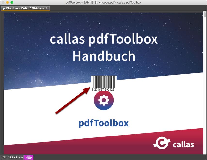Ansicht des PDF mit platziertem EAN 13 Strichcode