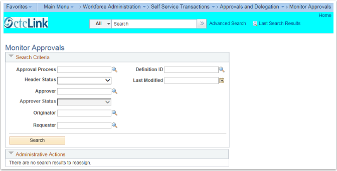 Monitor Approvals Search Criteria