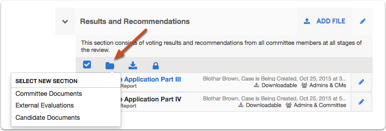 Click the folder icon to move the selected documents to another packet section