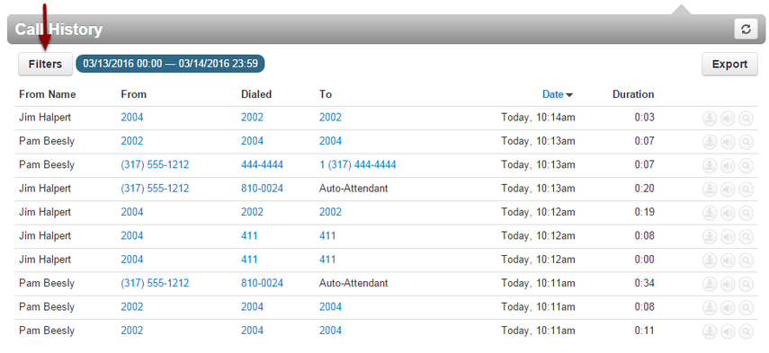 You can visually scan your call history log or use Filters to narrow your search.