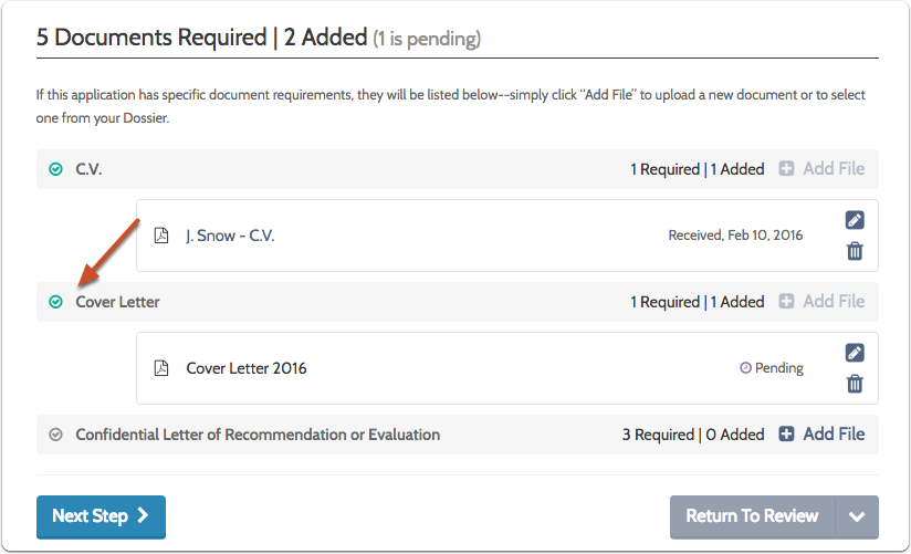 When enough documents have been added to satisfy a requirement, a green check will display