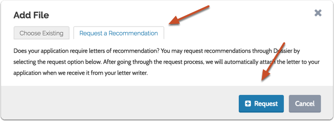 """To request a new recommendation, open the """"Request a Recommendation"""" tab, and click the """"Request"""" button to begin the process"""