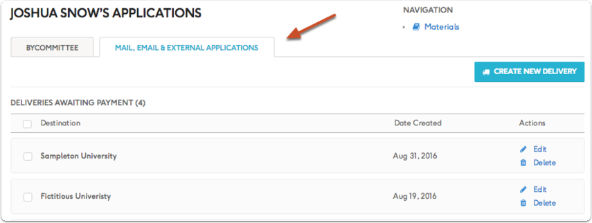 "Other applications and deliveries appear listed on the ""Mail, Email & External Applications"" tab"