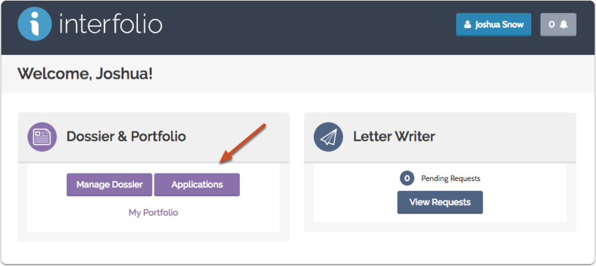 "Click ""Applications"" on your dashboard"