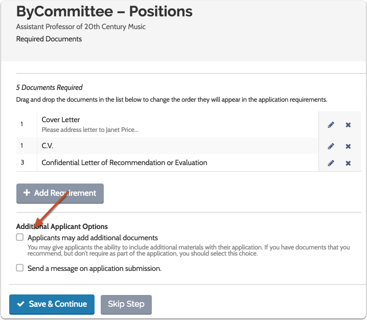 You have the option to allow applicants to add additional documents