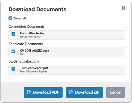 """Click """"Select All"""" to download all documents in the list -or- toggle on each document you want to download"""