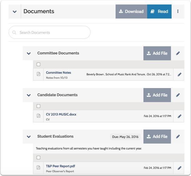 Committee and candidate documents and external evaluations appear listed on the Case page
