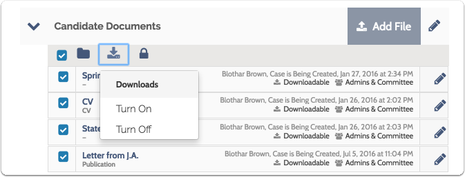 Click the download icon to turn downloading on or off for the selected documents