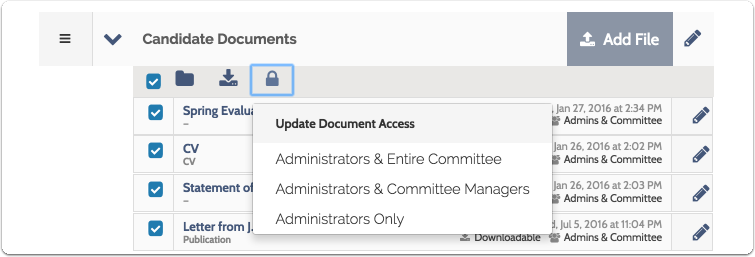 Click the lock icon to update document access (who can see what) for the selected documents