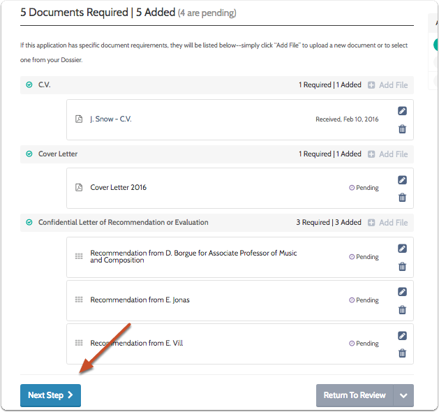 "Click ""Next Step"" when you are finished adding required documents"