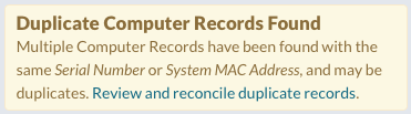 Duplicate Computer Records Found Banner