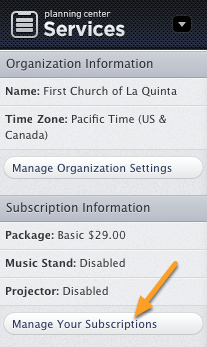 """Click """"Manage Your Subscriptions"""" on the left"""